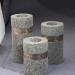 Circle Candle Set of 3 from Stone - 5c stn 008