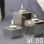 Square Candle from Aluminium Set of 3 – al.001.tt