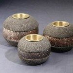 Ball Candle Set of 3 from Stone - 5c stn 009