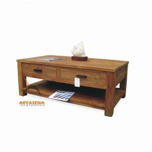 ASN 01 - Assen Coffee Table with 2 Drawers - Teak Rustic 120x65x45