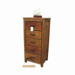 ASN 06 - Assen Chest with 5 Drawers - Teak Rustic 50x40x112