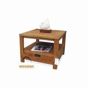 ASN 10 - Assen End Table with 1 Drawer Hangrip Antique Brass - Teak Rustic 60x60x45