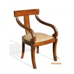 Manchester  Curved Arm Chair with Leather Seat - LGCH 03