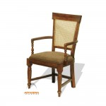 Dubai Arm Chair with Fabric Seat and Back Cane - LGCH 06