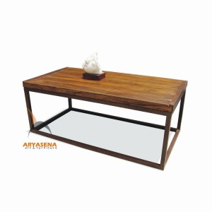 MR TB 01 Coffee Table with Iron Frame in Teak Wood Top 127x65x50