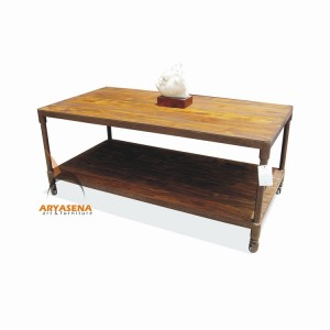 MR TB 03 Coffee Table with Iron Frame and Wheel in Teak Wood Top 127x65x55