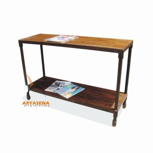 MR TB 04 Console Table with Iron Frame and Wheel in Teak Wood Top 120x40x80